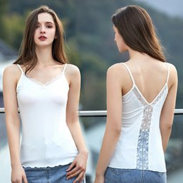 shirts sexy backs NZ - Spring and Summer lace back sling women's vest sexy girl Camisole Top vest slim V-neck breathable top with base shirt