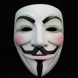 v for vendetta party props Canada - White V Mask Masquerade Mask Eyeliner Halloween Full Face Masks Party Props Vendetta Anonymous Movie Guy Wholesale free shipping LJJA5780