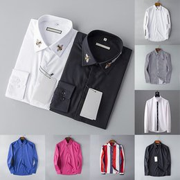 Wholesale men s v neck dress shirt for sale – oversize 2020 Designer Mens Dress Shirts Fashion Casual Shirt Brands Men Shirts Spring Autumn Slim Fit Shirts chemises de marque pour hommes