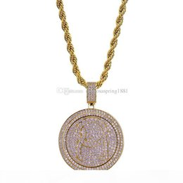 spinning pendant NZ - Spin Round Pendant Necklace Men Bling Cubic Zirconia Ice Out Gold Jewelry Silver Plated New Fashion Hip Hop Necklace