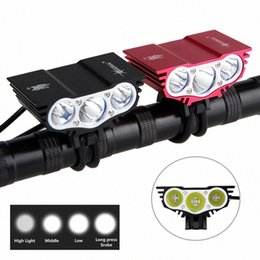 bicycle light battery pack UK - 6000Lumen 3x XM-L L2 LED Bicycle Light Head Front Cycling Light Led Headlight Bike Lights+12000mAh Battery Pack mZAz#
