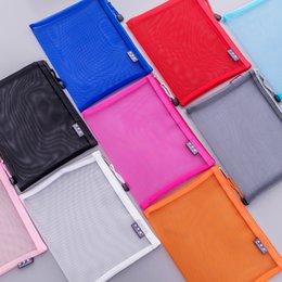 plastic zipper folders NZ - Zipper Document Bag Mesh Waterproof File Folder Classified Storage Student Stationery Bag Transparent File Pocket Archival Bags VF1490