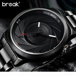 unique mens sport watches Canada - Break Creative Unique Design Mens Watches Top Wristwatch Quartz Sports Wrist Watch Men Gift Clock Relogio Masculino