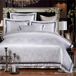 embroidered duvet cover sets queen Australia - White Jacquard Quilt Duvet Cover Set Queen King Size Bedclothes 4pcs Silk Cotton Satin Fabric Bedding Set Bed Sheet Linen Home Textile