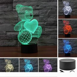 bears night light UK - Bear Love Beloved 3D Acrylic Visual Touch Table Lamp Colorful Art Decor Child Creative USB LED Desk Night Light