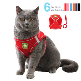 C2 Collar Cat Dog Reticulate Vest brilhante Traction Rope respirável Leashs Chien Muti Cores Harness animal Supply Pet 9fb em Promoção