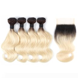 short brazilian hair styles UK - 1B613 Ombre Blonde Body Wave Hair Bundles With Closure 50g Bundle 10-12 Inch Short Bob Style 4 Bundles Brazilian Remy Human Hair Extensions
