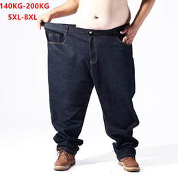 big size jeans Canada - Plus Big Size Black Jeans Men 5XL 6XL 7XL 8XL 54 56 58 59 60 200KG Elastic Denim Trousers Mens Jean Brand 2019 Pants Man Clothes CX200727
