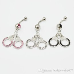 color stone buttons UK - D0018-2 ( 3 colors ) handcuffs style navel belly ring 20 pcs clear color stone drop shipping BODY jewelry piercing