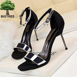 flock dress NZ - BIGTREE Summer Concise Thin Heels Sandals Women PU Leather Flock Fashion Buckle High Heels Shoes Open Toe Women's Dress Sandals