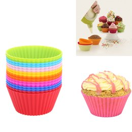 cupcake makers Canada - Silicone Muffin Cupcake moulds 7cm Round shape cake cup Mould Bakeware Colorful Baking Mold Maker Tray Baking Chocolate Cupcakes Liner Molds