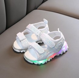 kids led flash shoes NZ - Kids Sandals Summer LED WIth Light Flash Sandals Beach Leather Sandals Children Water Shoes Anti-skid Design for Children