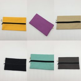 fashion stationery NZ - Pure cotton canvas blank long stationery Diy zipper DIY hand-painted zipper bag Korean style stationery storage bag