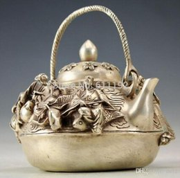 folk art wood UK - Vintage Handwork tibet silver Carved Chinese folk 8 Immortal Teapot Flagon