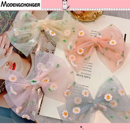 silk hair bows for girls UK - Fashion Small Daisies Hair Bows for Girls Multi-layer Kids Hair Clips Beautiful HairPin Handmade Hairgrips Accessories Hot