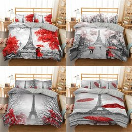 Wholesale twin towers online – design 3D Tower Duvet Cover Set Vintage Flower Bedding Set For Adults Bedcloth Queen King Twin Size Bed