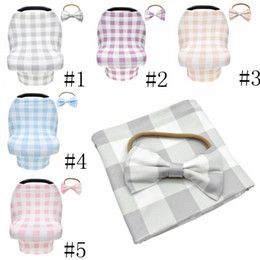 Plaid Seat Canopy Stretchy Baby Carseat Cover With Bow Hairbands Baby Car Seat Canopy Carseat Nursing Breastfeeding Cover LSK249 on Sale