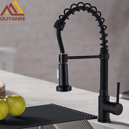 pull out spring faucet Canada - Quyanre Matte Black Pull Down Kitchen Spring Faucet Single Level Mixer Tap 360 Rotation 2-way Pull Out Spray Kitchen Faucet T200424