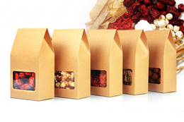 Discount kraft paper tea packaging box 8*15.5*5cm 300pcs Quality packaging Kraft paper Stand Up bag Food Square window box Bags of nuts Tea Cake Cookies Coffee