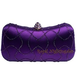 womens party clutch bags UK - Wholesale-Newest Purple Crystal Clutches Box Clutch Bags for Womens Party Crystal Rhinestone Evening Purses and Bags