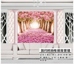 cherry blossom walls Canada - High end Custom 3d photo wallpaper murals wall paper Romantic cherry blossom scenery 3d living room wallpaper background wall home decor