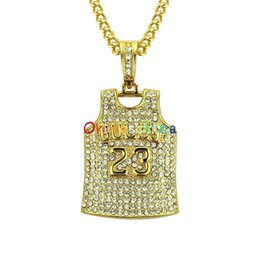 american indian jewelry necklaces Canada - 2020 designer necklace European and American explosion No.23 jersey diamond pendant necklace men's pendant accessories jewelry