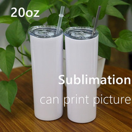 Wholesale 20oz Sublimation Skinny Tumblers with Lid DIY Double Wall Blank Straight Tumblers Vacuum Insulated Slim Tumblers Heat Transfer Car Mug