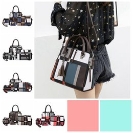 beaded blue bag NZ - 4Pcs set Composite Tassel Bag lady Fashion England style blue plaid Shoulder Crossbody Handbag designer Phone Bags For Women wallets 191010