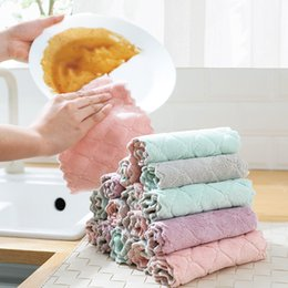 wholesale cotton rags NZ - Kitchen Cleaning Cloths Super Absorbent non-stick oil dishcloth Thickened rag wipe tablecloth Soft Coral fleece towel tools for Dish pot