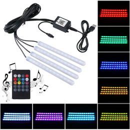led strip lights music controller Canada - 1 To 4 Car LED Strip Light Multicolor Light Adjustable Music Sensor Car Footwall With Remote Controller App Controlling