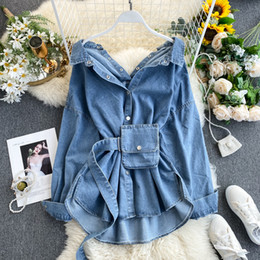 womens button down blouses NZ - 2020 Women Spring Denim Blouses Coat Turn Down Collar Sexy Button Design Womens Denim Shirt Style Coat Women Tops Blusas T200801