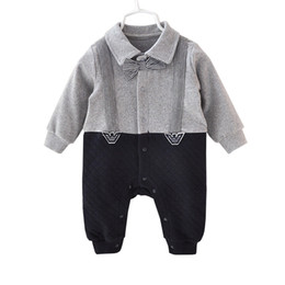 body baby clothing Canada - Handsome Baby Rompers Infant Newborn 0-12M Bow Tie Romper Costume Cotton Jumpsuit Clothes Body Babies Suit Baby Boys Clothing