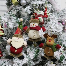 reindeer plush toy NZ - Christmas Tree Plush Hanging Ornaments Xmas Decorations Festive Season Pendant Santa Snowman Reindeer Toy Doll Holiday Party Decor JK1910