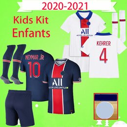 22 shirt Australia - Kids kit with socks 2020 2021 soccer jersey 20 21 boys set paris ICARDI MBAPPE children suit football shirt CAVANI Maillot de foot