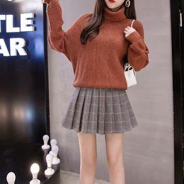 Wholesale high waist skirts resale online - Blackday New Arrival Autumn Skirts Womens Above Knee Length Korean Elegant Student Zipper High Waist Skirt Female Pleated School Skirt
