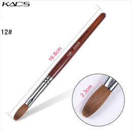 Wholesale poly wood resale online - 12 New Professional Nail Art Brush Kolinsky Acrylic Sable Red Wood Crimped Head Brush UV Poly Gel Brush for Nail Designs CX200717