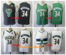 basketball jersey green sleeveless UK - Kids 34 Giannis Antetokounmp