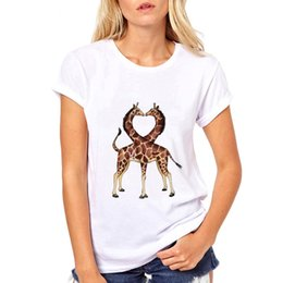 giraffe prints UK - Heart Giraffe Lover T Shirt Woman Cool White Tshort Sleeve Creativity Fall In Love T-Shirt Casual Girls Hipster Men Tshirt Homme