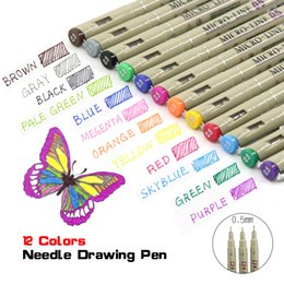 copic sketch pens Australia - Copic 12 0.5mm needle Microns Lettering Touchfive Fineliner Color Markers Sketch Art Pen Manga Anime Set Y200709