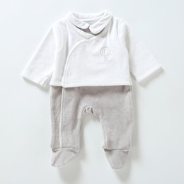 Wholesale girls opening clothes for sale - Group buy romper newborn clothes long sleeves kids clothesbaby overalls boy girls clothes two colors sdie opening footies romper