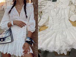 Wholesale embroidered linen dresses resale online – Australia Summer White Short Sleeve Linen Embroidered Hollow V neck Waist Dress
