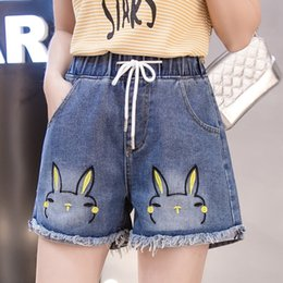 preppy style clothing Canada - tm6Mo Denim shorts 2020 Summer new Korean style high waist fat mm200 Jin Shorts hot pants large size women's clothing student Korean style a