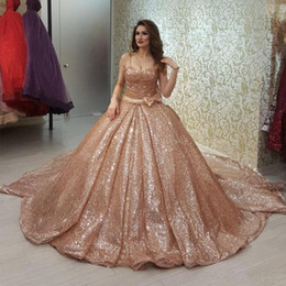 crystal rose images UK - Bling Rose Gold Sequined Quinceanera Dresses Spaghetti Strap Bow Tie Vestido Paete Festa Princess Party Gowns Sweet 16 Prom Dresses