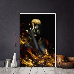 indian frames UK - African Nude Woman Indian Black and Gold Oil Painting Posters Wall Art Picture for Living Room Home Decor (No Frame)