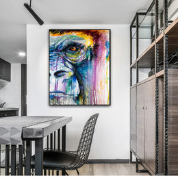abstract art paintings for kids NZ - Colorful Chimpanzee Canvas Art Graffiti Oil Painting Abstract Wall Wild Animals Poster Prints Wall Pictures for Kids Room Modern Home Decor