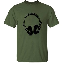 headphone girls UK - Cotton Designs Headphones T Shirt 100% New Arrival Novelty Crew Neck Homme Unisex Boy Girl T-Shirts 2020 Top Quality