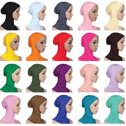 Wholesale Muslim Hijab Scarf Women Cover Inner Solid Color Plain Underscarf Cap Scarf 20 Colors Mercerized Cotton Ladies Caps Ladies Turban Muslim