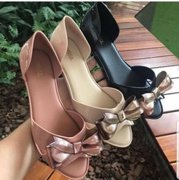 ladies jelly slippers UK - Hot Sale- Women Jelly Shoes Bow Jelly Slippers Ladies Sandals Melissa Adult Slippers Women Beach Shoes