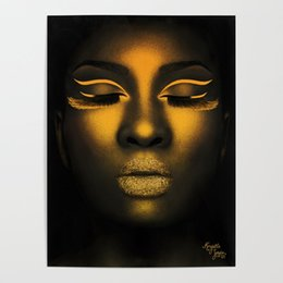 ladies ink Australia - Gold Face Lady Beautiful Gifts Fashion Modular Pictures Canvas Wall Paintings Printed Poster Living Room Home Decoration Frame