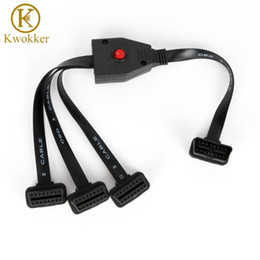 obd connectors NZ - KWOKKER OBD II OBD2 16 Pin Splitter Extension Male to Female Extension Cable Adapter Diagnostic Tool Connector with Power Switch